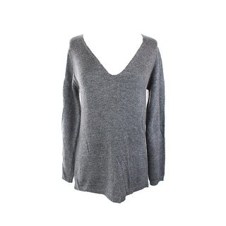 Studio M Steel Open-Stitch V-Neck Sweater S