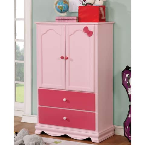 Furniture of America Jevi Transitional Solid Wood Youth Armoire