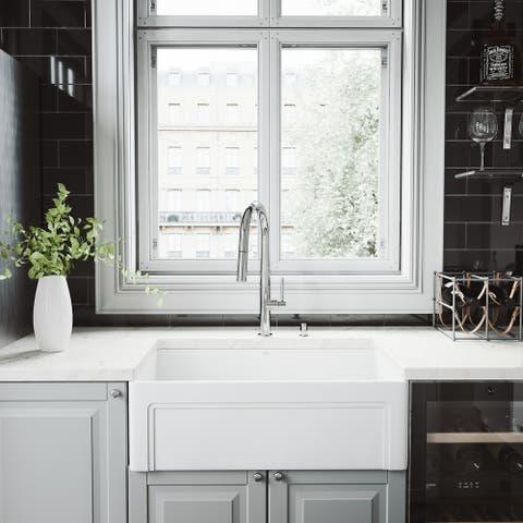 VIGO 30-inch Matte Stone Kitchen Sink Set with Greenwich Faucet