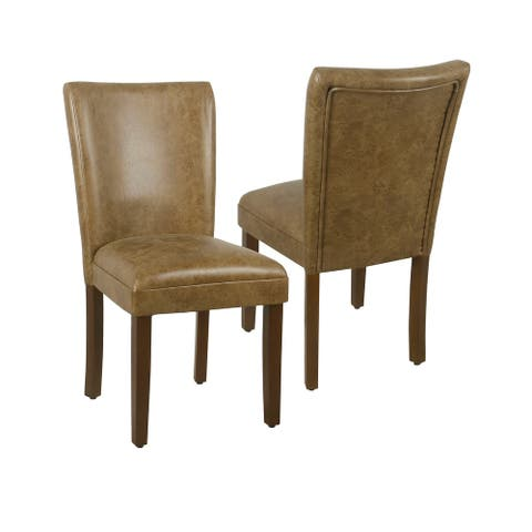 Porch & Den Donatello Distressed Brown Faux Leather Parsons Chair (Set of 2)