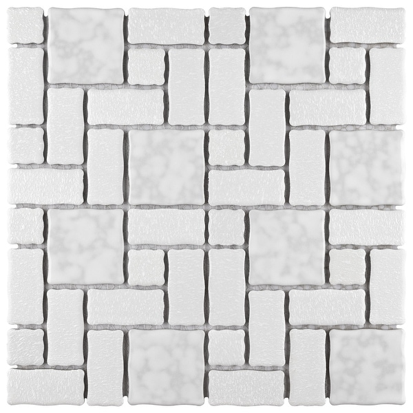 """SomerTile Academy White 11.75"""" x 11.75"""" Porcelain Mosaic Tile. Opens flyout."""