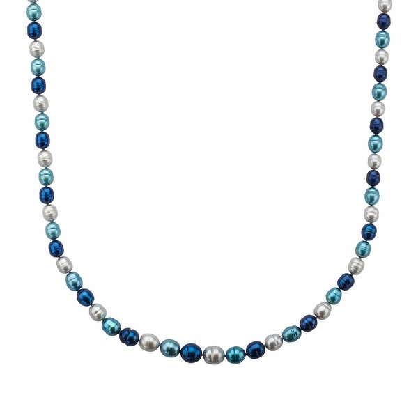 5-9 mm Blue Multi-Color Freshwater Pearl Necklace in Sterling Silver
