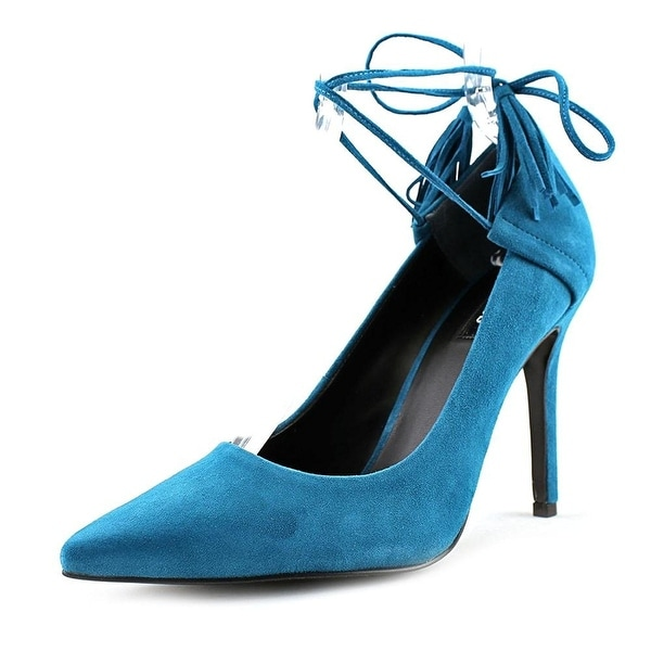 GUESS Womens Binum Pointed Toe Ankle Wrap Classic Pumps