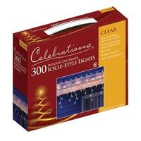Celebrations 14084W-71 Mini Icicle Light Set, 13', 300 Clear Lights