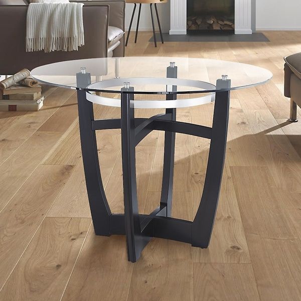 """Round Glass Top Dining Table with Solid Wood Base Tempered Glass - Glass panel:¢42"""" x 12MM;Base:42"""" x 42"""" x 40.5"""". Opens flyout."""
