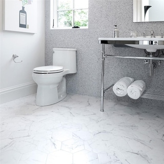 Link to SomerTile 7x8-inch Carra Carrara Hexagon Porcelain Floor and Wall Tile (25 tiles/7.67 sqft.) Similar Items in Tile
