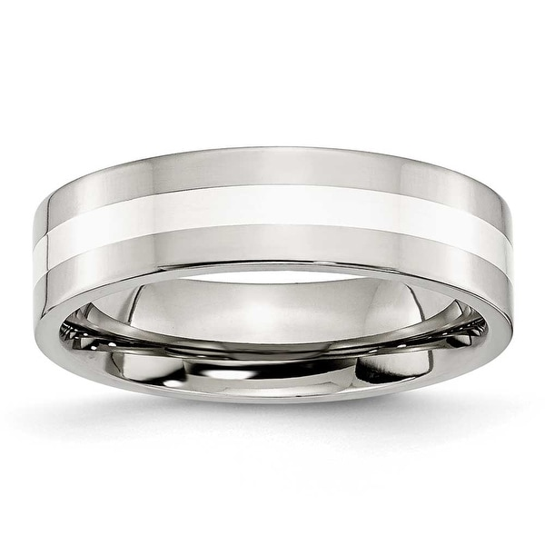 Stainless Steel Sterling Silver Inlay Flat 6mm Polished Band