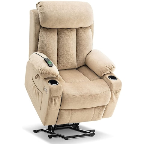 Mcombo Large Power Lift Recliner with Extended Footrest for Big and Tall Elderly People, Hand Remote, Cup Holders, Fabric 7426
