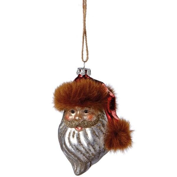 "4.75"" Glittered Old World Style Santa Head Mercury Glass Style Christmas Ornament - GOLD"