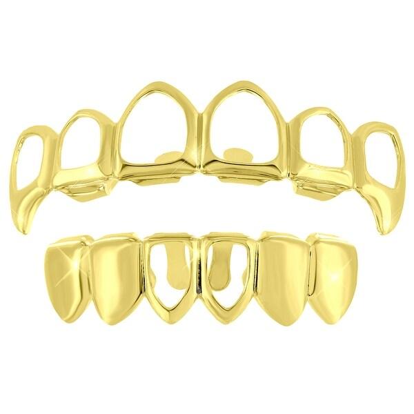 2 Grillz Set Tops Bottoms open Face Design Gold Finish