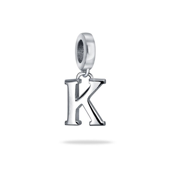 bling jewelry 925 sterling silver alphabet block letter k dangle bead