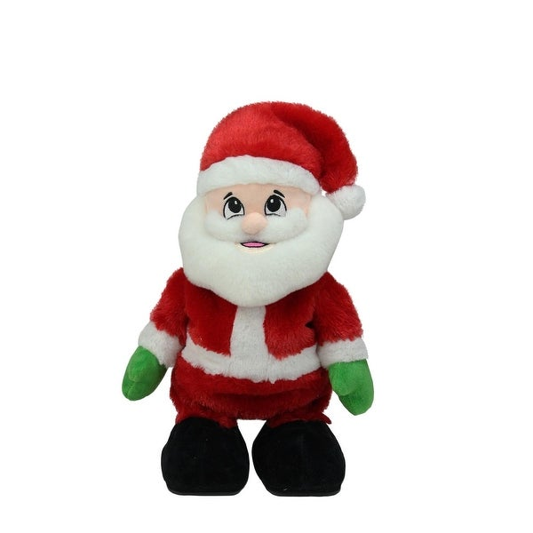 "12"" Animated Tickle 'n Laugh Santa Claus Plush Christmas Figure - RED"