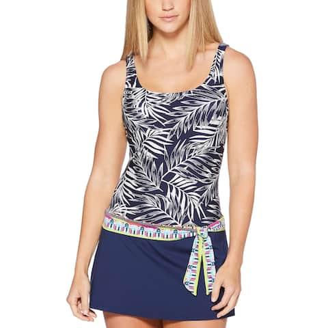 JAG Womens Tropical Palm Thigh-Minimizing Tie-Waist Swimdress X-Small Navy