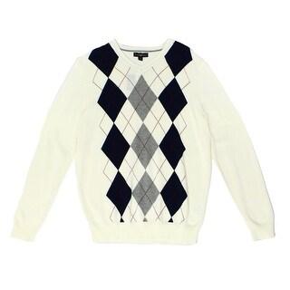 Club Room NEW White Ivory Mens Size 3XL V-Neck Argyle-Print Sweater