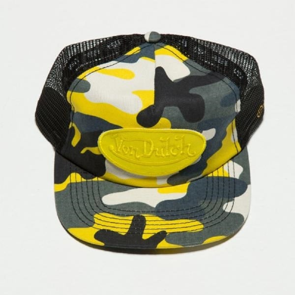 Von Dutch Unisex Camo Trucker Hat, Adult, Yellow/Grey Camo, Os