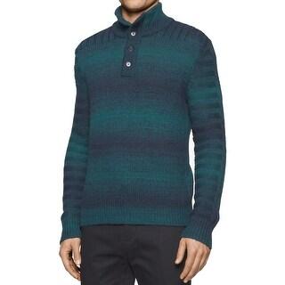 Calvin Klein NEW Blue Mens Large L Space Dye Button Mock Neck Sweater