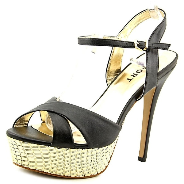 Report Womens Vallerie Open Toe Ankle Strap Platform Pumps