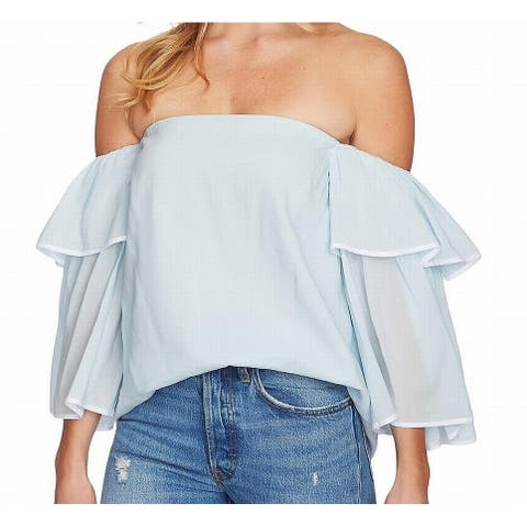 1.STATE Women's Top Blouse Blue Size Large L Chiffon Off-Shoulder