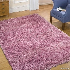 Allstar Purple Hand-knotted High-End Dual-Type Polyester Yarn Luxury shaggy area Rug with extra-long pile (5' x 7')