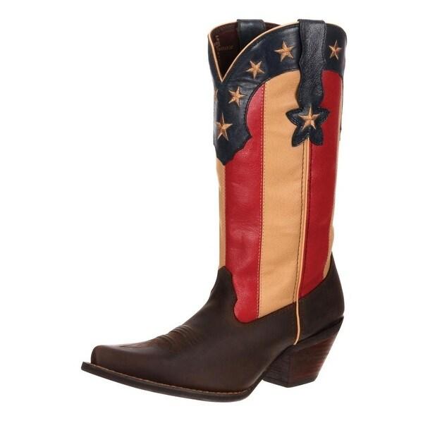 "Durango Western Boots Womens 12"" Crush Stars N Stripes Brown"
