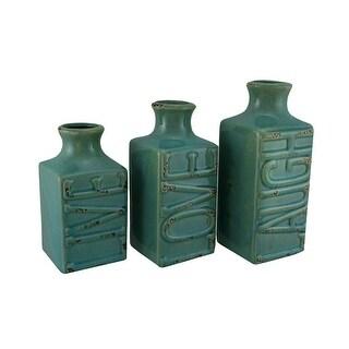 Set of 3 Blue Crackle Finish Live Laugh and Love Porcelain Vases