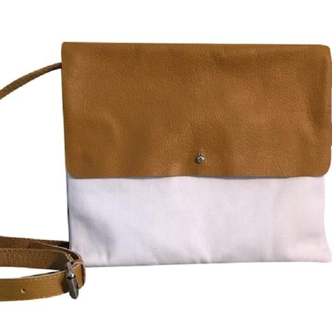 SHARO Girls Canvas & Leather Cross Body ipad case bag