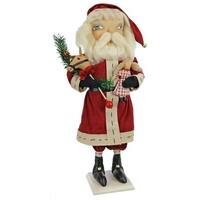 """22"""" Gathered Traditions """"Sedrick"""" Santa Decorative Christmas Table Top Figure - RED"""