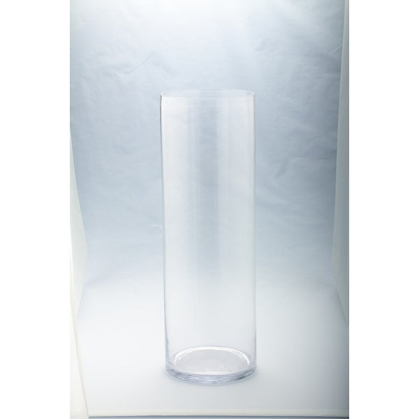 "23.5"" Clear Solid Glass Cylindrical Flower Vases Tabletop Decor - N/A"