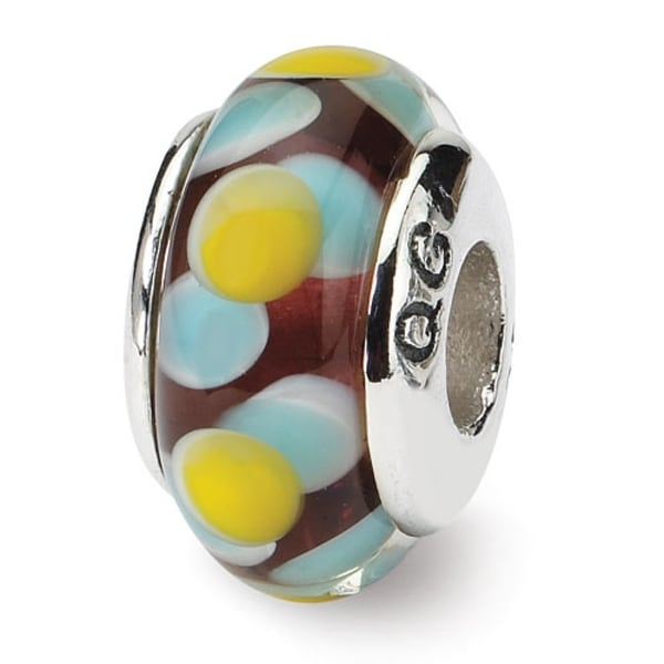 Sterling Silver Reflections Brown/Blue/Yellow Hand-blown Glass Bead (4mm Diameter Hole)