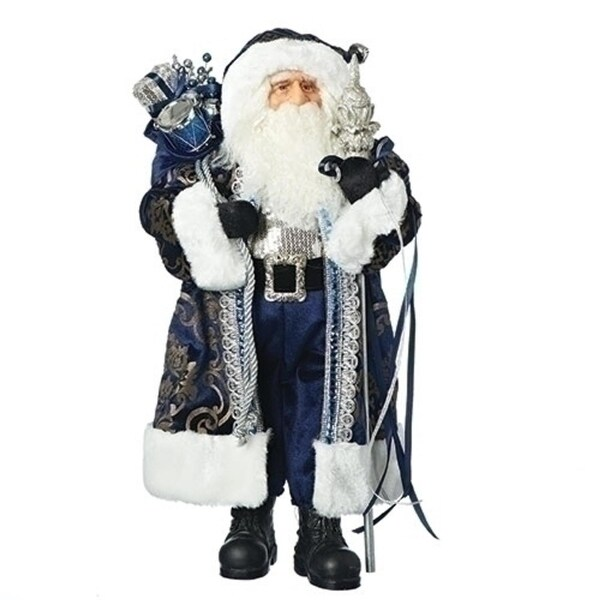 """18"""" Blue and Silver Colored Santa Claus with Present Bag Christmas Tabletop Figure"""