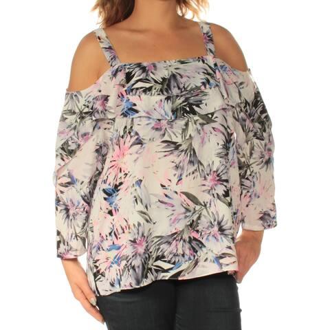NYDJ Womens Ivory Cold Shoulder Floral Long Sleeve Square Neck Top Size: L