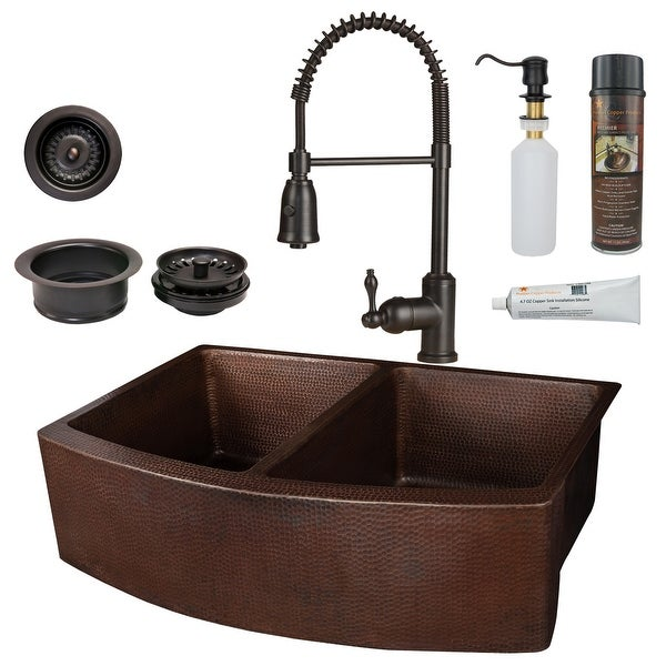 """Premier Copper Products KSP4_KA50RDB33249 33"""" Farmhouse 50/50 Double Basin Copper Kitchen Sink Package with Single Hole 1.8 GPM"""