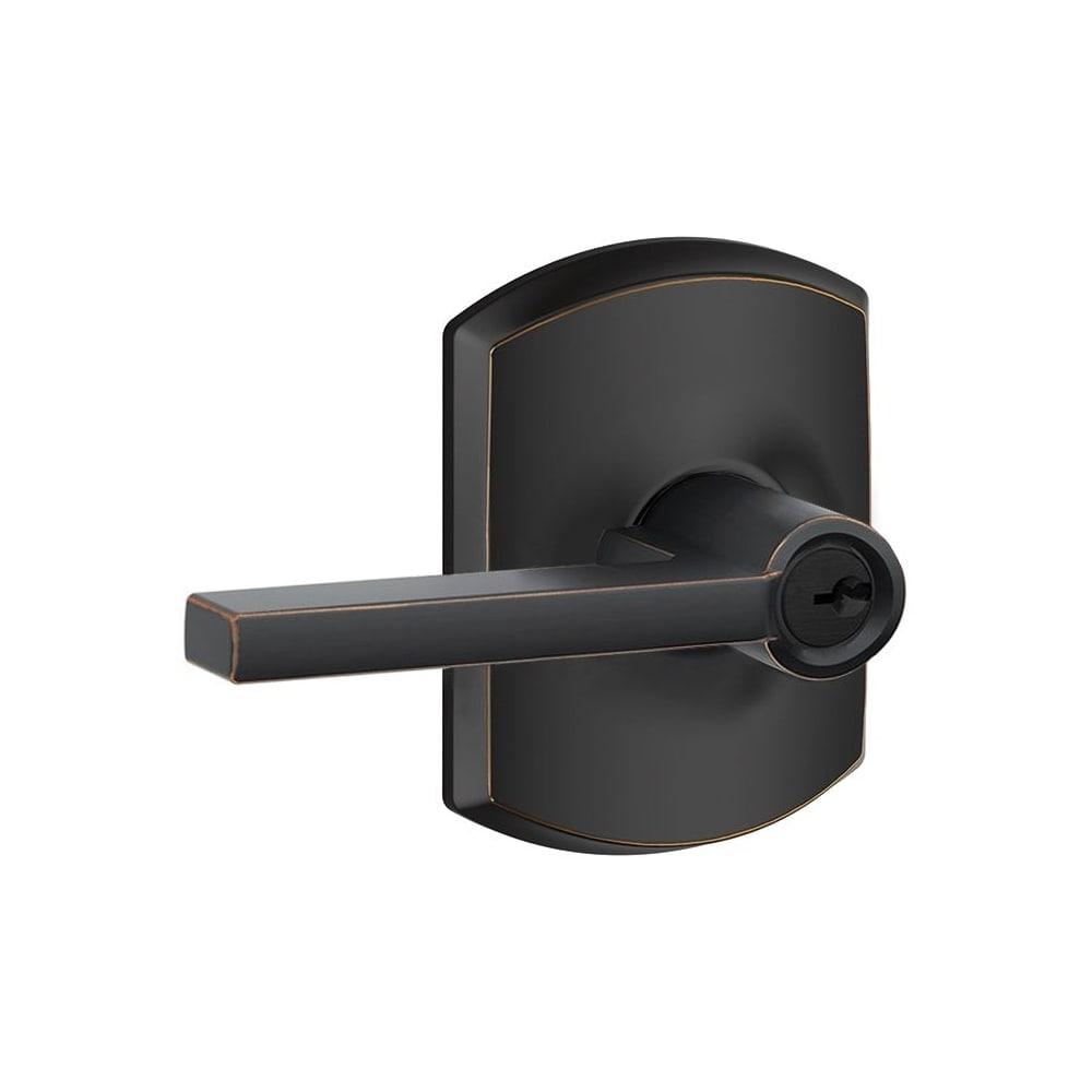Schlage F51-LAT-GRW  Latitude Single Cylinder Keyed Entry Door Lever Set with Decorative Greenwich Trim (Satin Nickel)