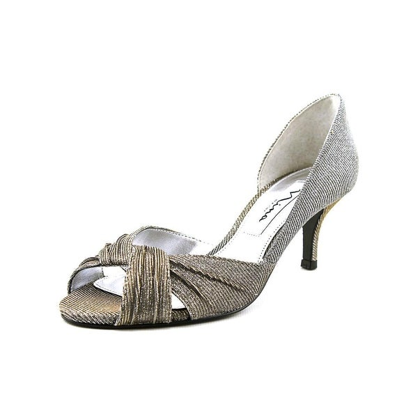 Nina Carrie Women Peep-Toe Canvas Silver Heels