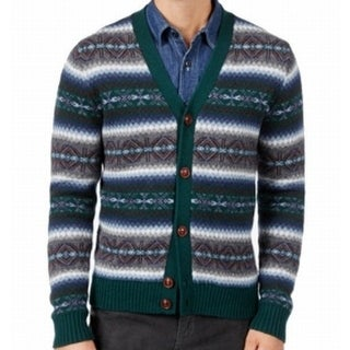 Tommy Hilfiger NEW Green Mens Size XL Fair Isle Button Cardigan Sweater