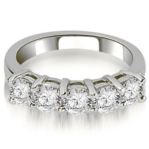 1.25 cttw. 14K White Gold Prong Set Round Cut Diamond Wedding Band