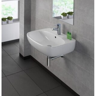"""Bissonnet Moda 60 Moda 23-5/8"""" Vitreous China Wall Mounted Bathroom Sink with Si"""