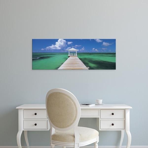 Easy Art Prints Panoramic Images's 'Pier in the sea, Bahamas' Premium Canvas Art