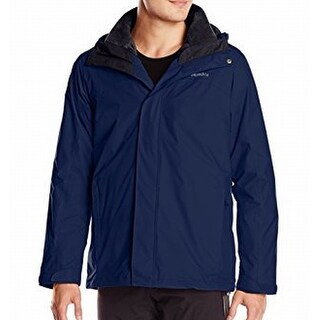Columbia NEW Blue Mens Size XL Hooded Full-Zip Water-Resistant Jacket