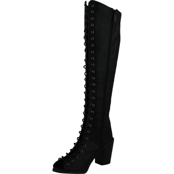 Breckelles Tina 14 Leatherette Women Peep Toe Lace Up Chunky Heel Knee High Boot - Black