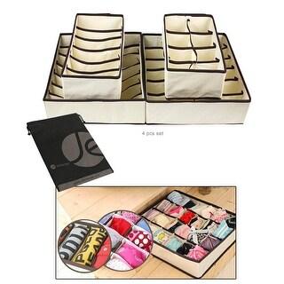 JAVOedge Beige 4 Piece Bundle Set of Closet and Drawer Storage (6 / 7 / 8 / 24 Slot Organizers) + Bonus Drawstring Bag
