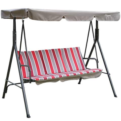 Alicia Patio Swing Chair with 3 Comfortable Cushion Seats and Strong Weather Resistant Powder Coated Steel Frame