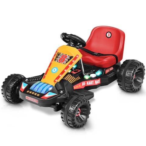 Goplus Electric Powered Go Kart Kids Ride On Car 4 Wheel Racer Buggy