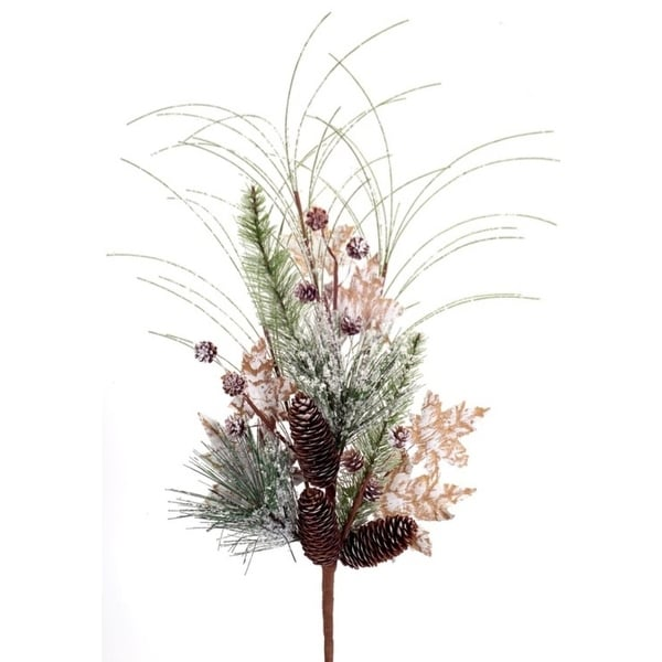 Pack of 6 Artificial Frosted Snowy Pine, Maple Leaf and Pine Cone Christmas Sprays 26.5""
