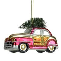 "5"" Festive Glittered Car with Christmas Tree on Top Glass Holiday Ornament"