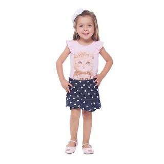 Toddler Girl Outfit Graphic Shirt and Polka Dot Shorts Set 1-3 Years
