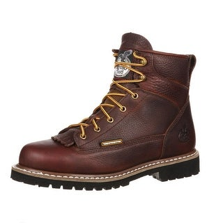 "Georgia Boot Work Mens 6"" Waterproof Lace Leather Chocolate"