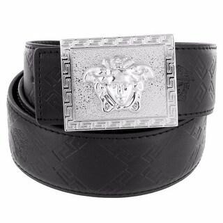 """Square Greek Medusa Buckle Silver Tone Greek Black Leather Belt Hip Hop 46"""""""