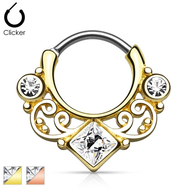 Lace Swirl Gem w/ Square CZ Center Gold IP Septum Clicker (Sold Ind.)