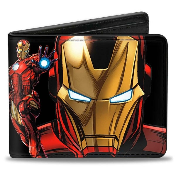 "Marvel Avengers Iron Man Pose Face Close Up + Pose Iron Man ""A"" Logo Black Bi-Fold Wallet - One Size Fits most"